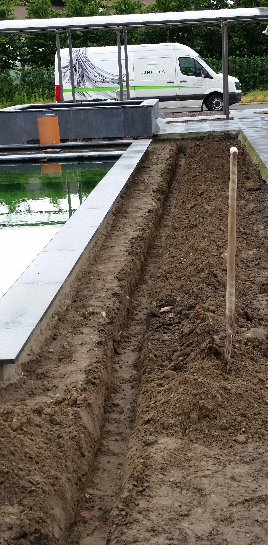 Voorbereiding tuinverlichting 'Zwevezele'